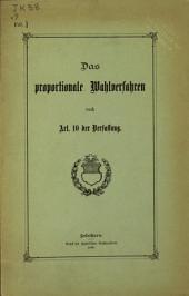 Das proportionale Wahlverfahren nach Art: 10 der Verfassung [des Cantons Solothurn].