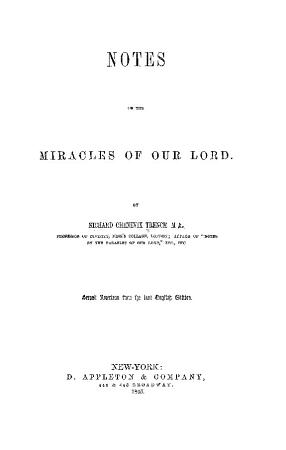 Notes on the Miracles of Our Lord PDF