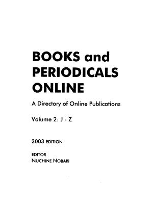 Books and Periodicals Online PDF