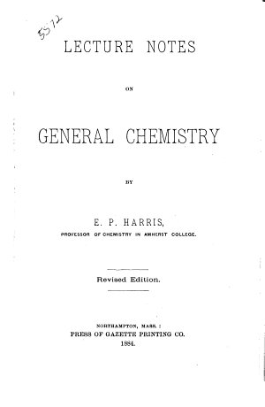 Lecture Notes on General Chemistry