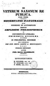 De veterum Saxonum republica. Pars prior. Dissertatio inauguralis