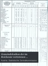 Gemeindelexikon der im Reichsrate vertretenen Königreiche und Länder: Bearb. auf Grund der Ergebnisse der Volkszählung vom 31. Dezember 1900, Band 14