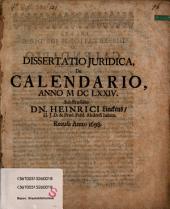 Dissertatio Iuridica, De Calendario