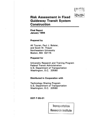 Risk Assessment in Fixed Guideway Construction PDF