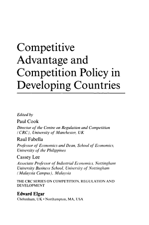 Competitive Advantage and Competition Policy in Developing Countries PDF
