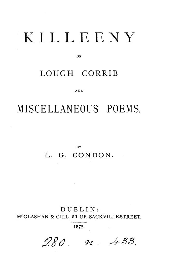 Killeeny of Lough Corrib and Miscellaneous Poems