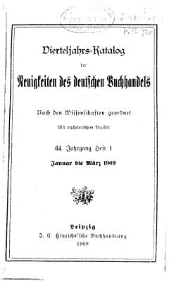 Vierteljahrs katalog der neuigkeiten des deutschen buchhandels nach den wissenschaften geordnet PDF
