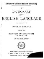 Webster s Common School Dictionary PDF