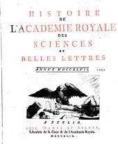 Histoire de l'Académie royale des sciences et des belles lettres de Berlin: Volume3