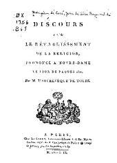 Discours sur le rétablissement de la religion, prononcé à Notre-Dame le jour de Pàques 1802