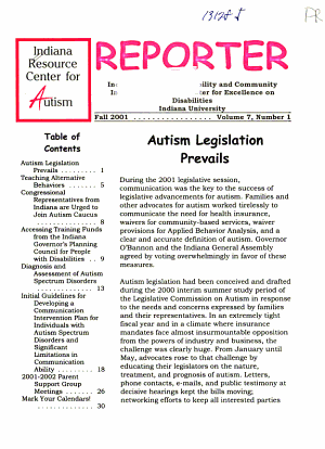 Indiana Resource Center for Autism Reporter PDF