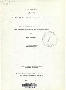 Effects of Total Body X irradiation on Blood Coagulation in the Rabbit PDF