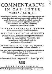 Commentarius In Cap. Inter Verba. XI. Q. III