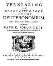 Verklaring van Mozes vyfde boek, genaamd Deuteronomium