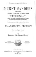 Muret-Sanders Enzyklopädisches englisch-deutsches und deutsch-englisches wörterbuch
