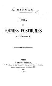 """Choix de poésies posthumes et autres. [With an """"Avertissement"""" by Clovis Michaux.]"""