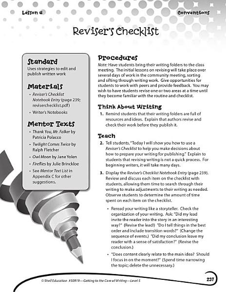 Writing Lesson Level 5 Revisers Checklist