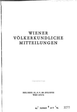 Wiener v  lkerkundliche Mitteilungen PDF