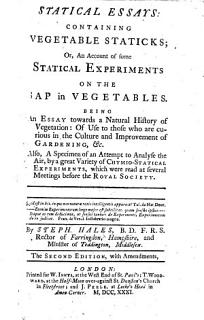 Statical Essays  containing Vegetable Staticks     The second edition  with amendments Book