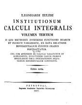 Institutionum calculi integralis: Volume 3