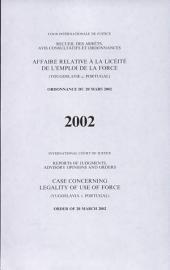 Affaire relative à la licéité de l'emploi de la force (Yougoslavie c. Portugal): ordonnance du 20 mars 2002