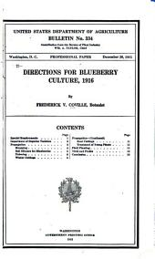 Directions for Blueberry Culture, 1916