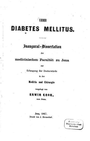 Ueber Diabetes mellitus PDF