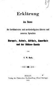 Erklärung des baues der berühmtesten und merkwürdigsten älteren und neueren sprachen Europa's Asien's, Afrika's, Amerika's und der Südsee-inseln