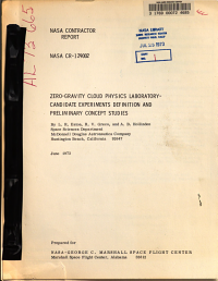 Zero gravity Cloud Physics Laboratory  Candidate Experiments Definition and Preliminary Concept Studies
