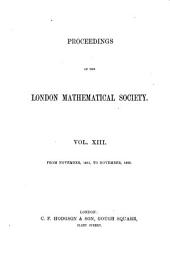 Proceedings of the London Mathematical Society: Volume 13