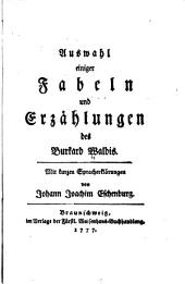 Fabeln und Erzählungen in Burkard Waldis Manier