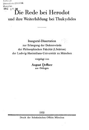 Die Rede bei Herodot und ihre Weiterbildung bei Thukydides PDF