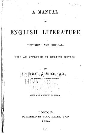 A Manual of English Literature  Historical and Critical