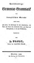 Vollst  ndige Elementar Grammatik der franz  sischen Sprache PDF