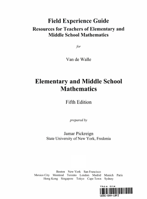 Field Experience Guide Resources for Teachers of Elementary and Middleschool Mathematics PDF