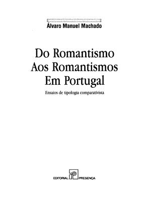 Do romantismo aos romantismos em Portugal PDF