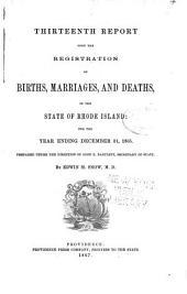 Report of Vital Statistics for Rhode Island: Volumes 13-15