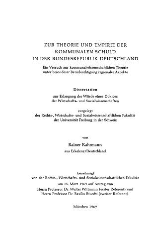 Zur theorie und empirie der kommunalen schuld in der bundesrepu    PDF