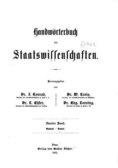 Handw  rterbuch der Staatswissenschaften PDF