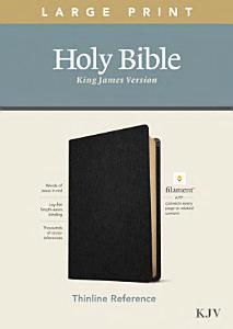 KJV Large Print Thinline Reference Bible  Filament Enabled Edition  Red Letter  Genuine Leather  Black  Book