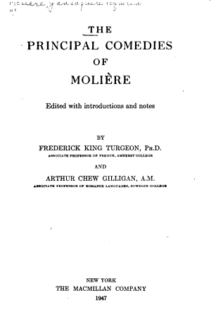 The Principal Comedies of Moliere