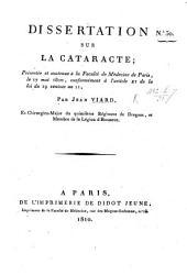 Dissertation sur la cataracte, etc