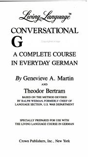 Living Language Conversational German Book