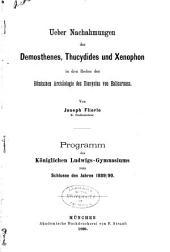 Ueber nachahmungen des Demosthenes, Thucydides und Xenophon in den Reden der romischen archaologie des Dionysius von Halicarnass
