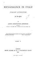 Renaissance in Italy  Italian literature  1881 PDF