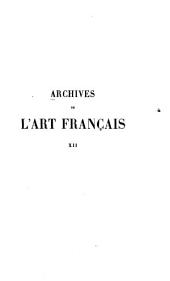 Archives de l'art français: Volume 12