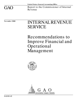 Internal Revenue Service recommendations to improve financial and operational management   report to the Commissioner of Internal Revenue  PDF
