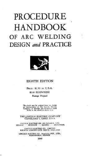 Procedure Handbook of Arc Welding  Design and Practice PDF