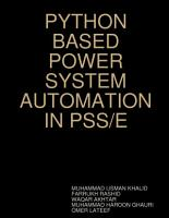 PYTHON BASED POWER SYSTEM AUTOMATION IN PSS E PDF