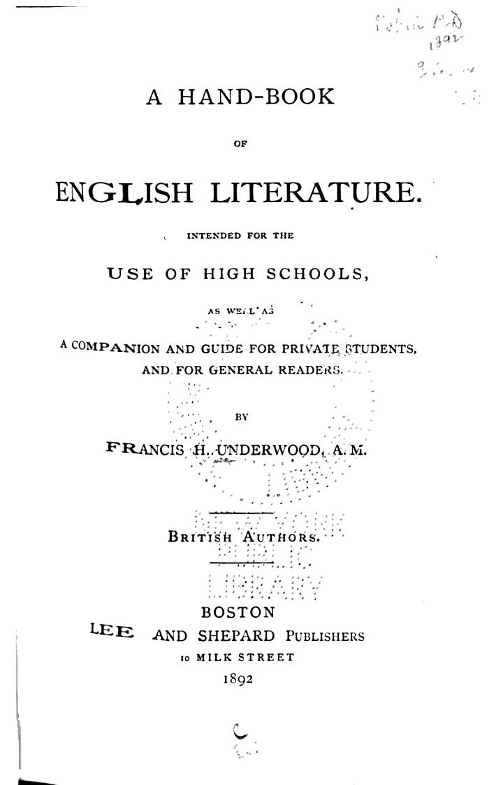 A Hand-book of English Literature
